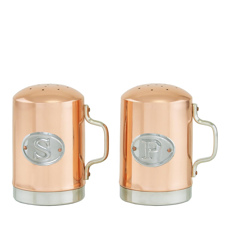 4.25 Old Dutch Stovetop Salt /& Pepper Shaker Set with Aluminum Handle /& Plaque Copper 4.25 1938