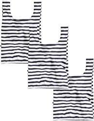 BAGGU Small Reusable Shopping Bag 3 Pack, Ripstop Nylon Grocery Tote or Lunch Bag, Sailor Stripe