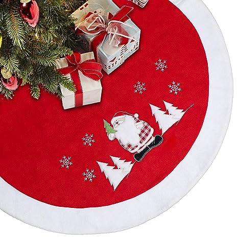 Christmas Fleece.Limbridge 48 Thick Fleece Christmas Tree Skirt With Embroidered Snowflake Plush Santa Claus Rustic Xmas Holiday Decoration Red