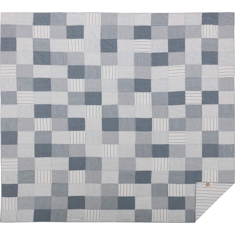 VHCブランド ファームハウス 寝具 ミラー ファーム チャコール コットン プレウォッシュ加工 パッチワーク シャンブレー カリフォルニアキング キルト ブルーデニム B07KQ5563M