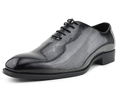 timeless design hot-selling authentic exquisite design Bolano The Original Mens Exotic EEL Skin Print Oxford Lace-Up Dress Shoes  Black Burnished Toe, Style Brayden