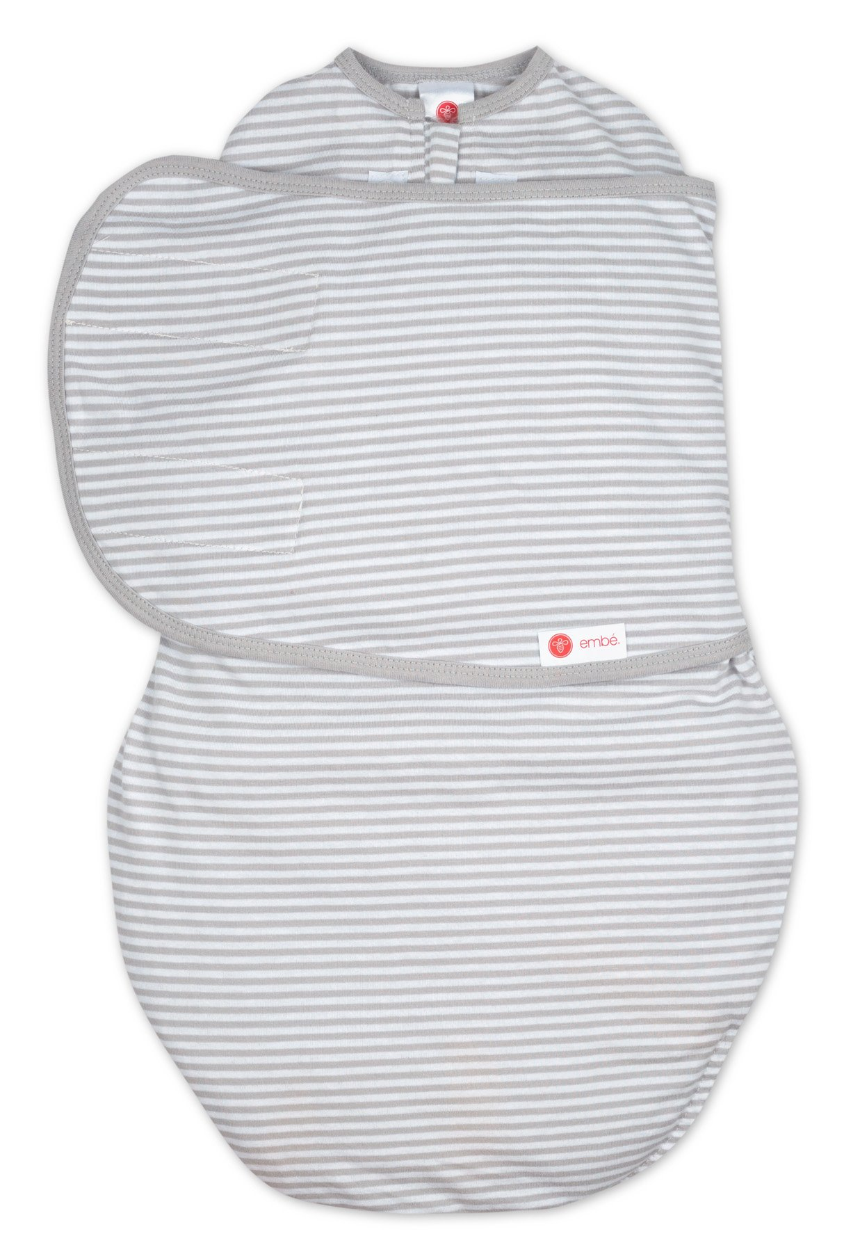 embé 2-Way Starter Swaddle Blanket, 5-14 lbs, Diaper Change w/o Unswaddling, Legs in and Out Design, Warm Up or Cool Down 100% Cotton, 0-3 Months (Grey Stripe) by embe