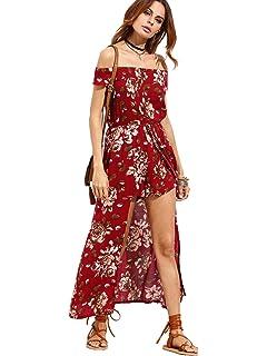 22476ad1c848 Milumia Women s Off Shoulder Floral Bardot Longline Bohemian Split Maxi  Romper Dress