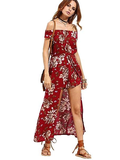 d7724c821aa Milumia Women s Off Shoulder Floral Bardot Longline Bohemian Split Maxi  Romper Dress Red Small