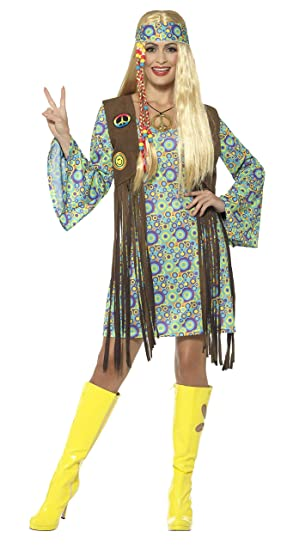 90734911f1736 Smiffys Costume femme hippie années 60, multicolore, avec robe, gilet,  medaillon et band, SMALL