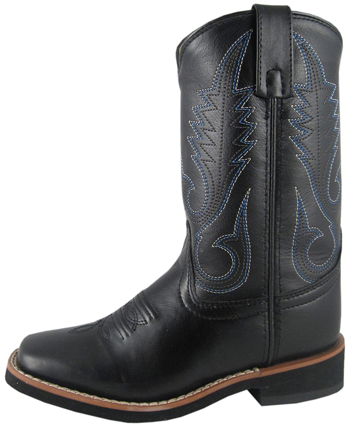 2ad349d22a5 Smoky Mountain Boys' Western Boot Square Toe Black 6 D(M) US