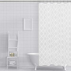 Dainty Home Aurora Fabric Shower Curtain, White