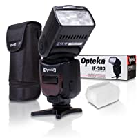 Opteka e-TTL Auto-Focus Speedlight Flash Bundle with LCD Display/Case/Diffuser/Table Stand for Canon 80D 77D 70D 60D 60Da 50D 7D 6D 5D 5DS 1DS T7i T7s T7 T6s T6i T6 T5i T5 T4i T3i T3 SL1 SL2