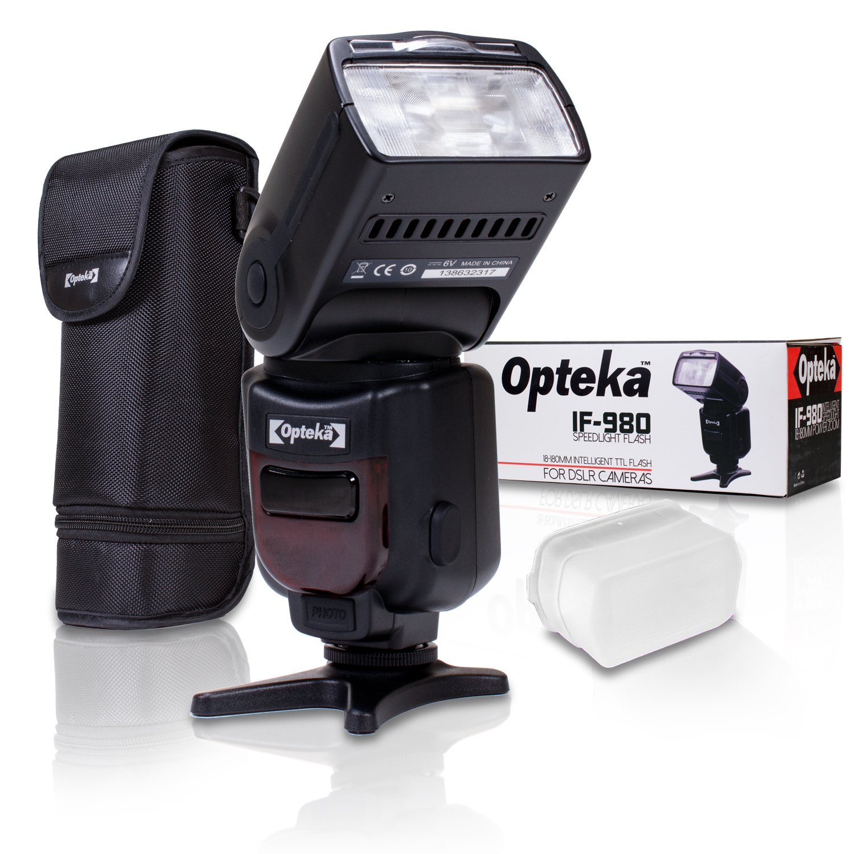 Opteka Pro E-TTL Auto-Focus Dedicated Flash + Case for Canon EOS 80D, 77D, 70D, 60D, 60Da, 50D, 7D, 6D, 5D, 5DS, 1DS, T7i, T7s, T7, T6s, T6i, T6, T5i, T5, T4i, SL2 & SL1 Digital SLR Cameras
