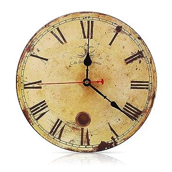 SOLEDI - Reloj de pared vintage de 30 cm, números arábigos de madera, silencioso