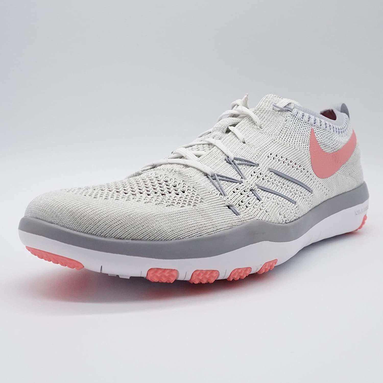 buy popular 6db4a 4f64d Nike Womens Free Transform Flyknit Blanco   Brillante Melón   Wolf Gray