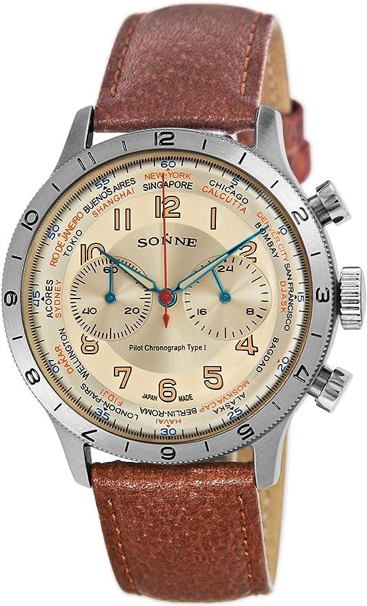 [ゾンネ] 腕時計 パイロットクロノグラフタイプI アイボリー文字盤 HI003IV-BR ブラウン