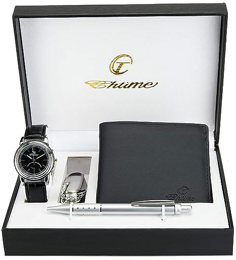 dd563c2f603b Caja de Regalo Reloj Hombre Negro - Lámpara LED - Cuchillo suizo 10  Funciones - Bolígrafo  Amazon.es  Relojes
