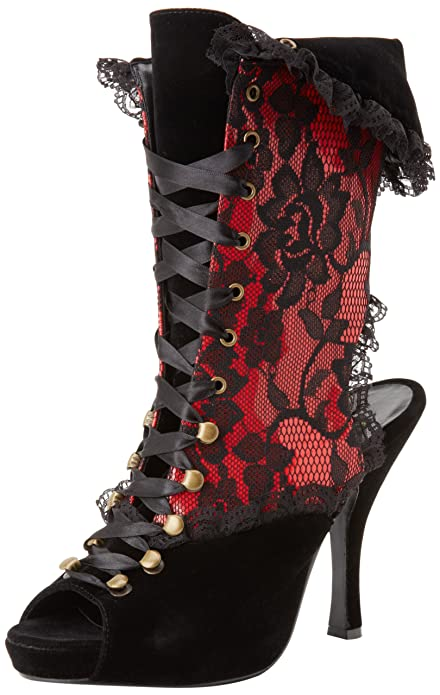 Women's Red Victorian Pirate-110/BVEL-R Lace Up Ankle Booties with Black Lace by Funtasma