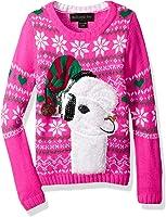 Blizzard Bay Girls' Fuzzy Llama With Sequin Xmas Sweater