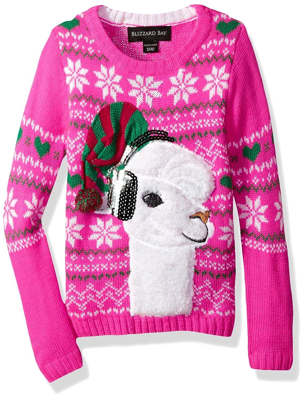 Blizzard Bay Girls' Fuzzy Llama W/Sequin Xmas Sweater Fashion Avenue Girls 7-16