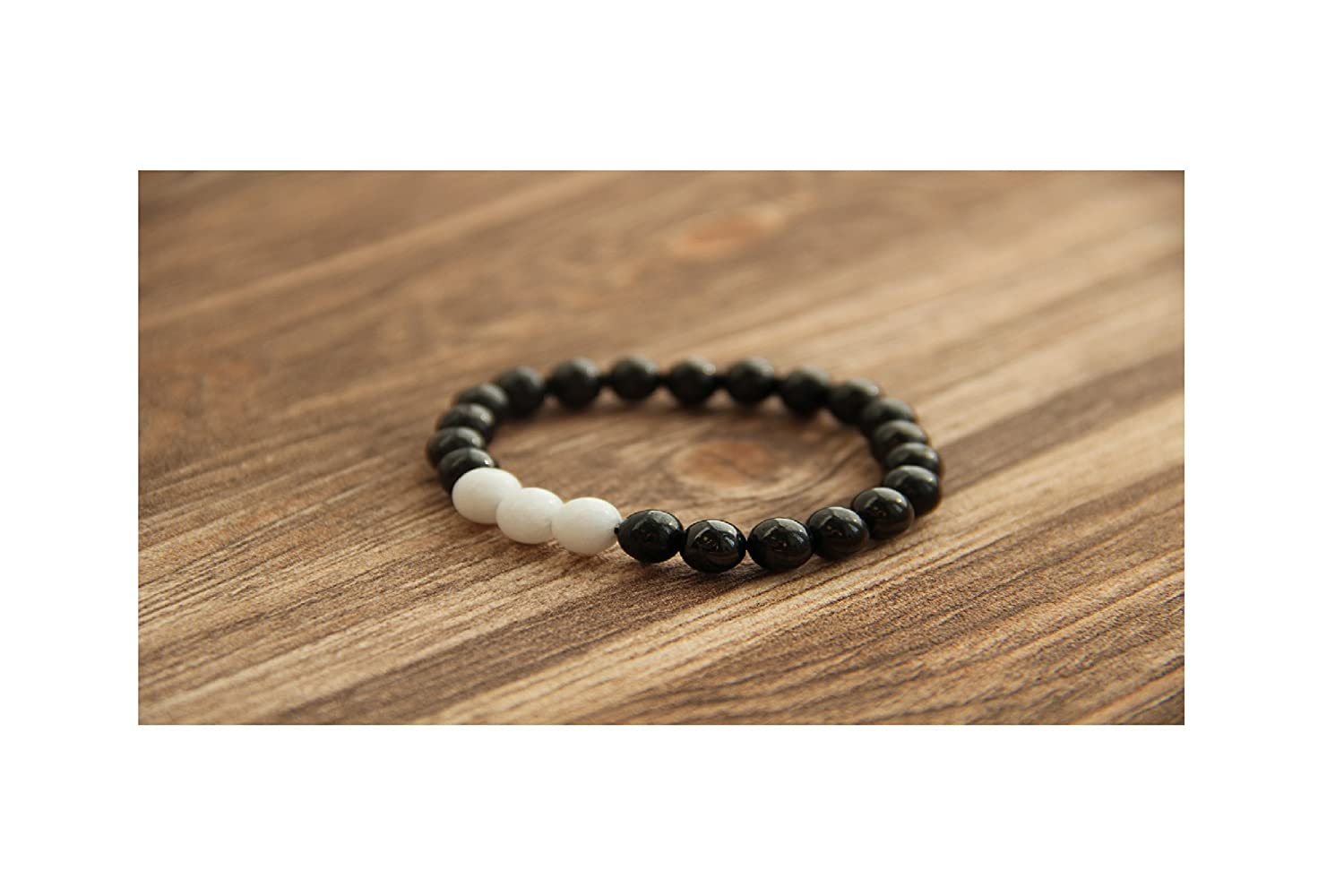 Karelian Heritage: Shungite beaded bracelet with 3 round white jade beads BO21