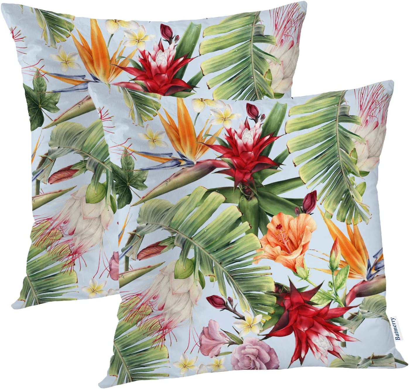batmerry floral tropical decorative pillow covers 22 x 22 inch abstract tropical floral aloha double sided throw pillow covers sofa cushion cover