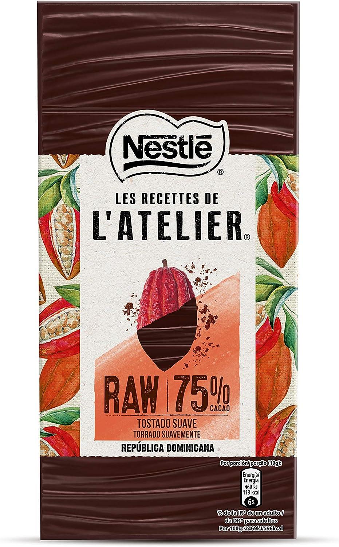 Nestlé Les Recettes De L'Atelier Raw Chocolate Negro De República Dominicana 75% 95 g