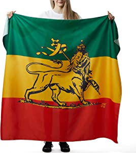 CRAFT + CREATOR Lion of Judah Rastafarian Tapestry from The African Flag to A Rasta Icon A Wall Hanging Piece of Decor for Fans of Bob Marley and Reggae Music - One Love