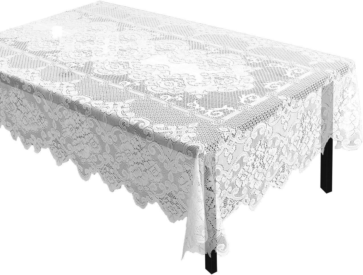 Amazon.com: Juvale - Mantel de encaje blanco para decoración ...