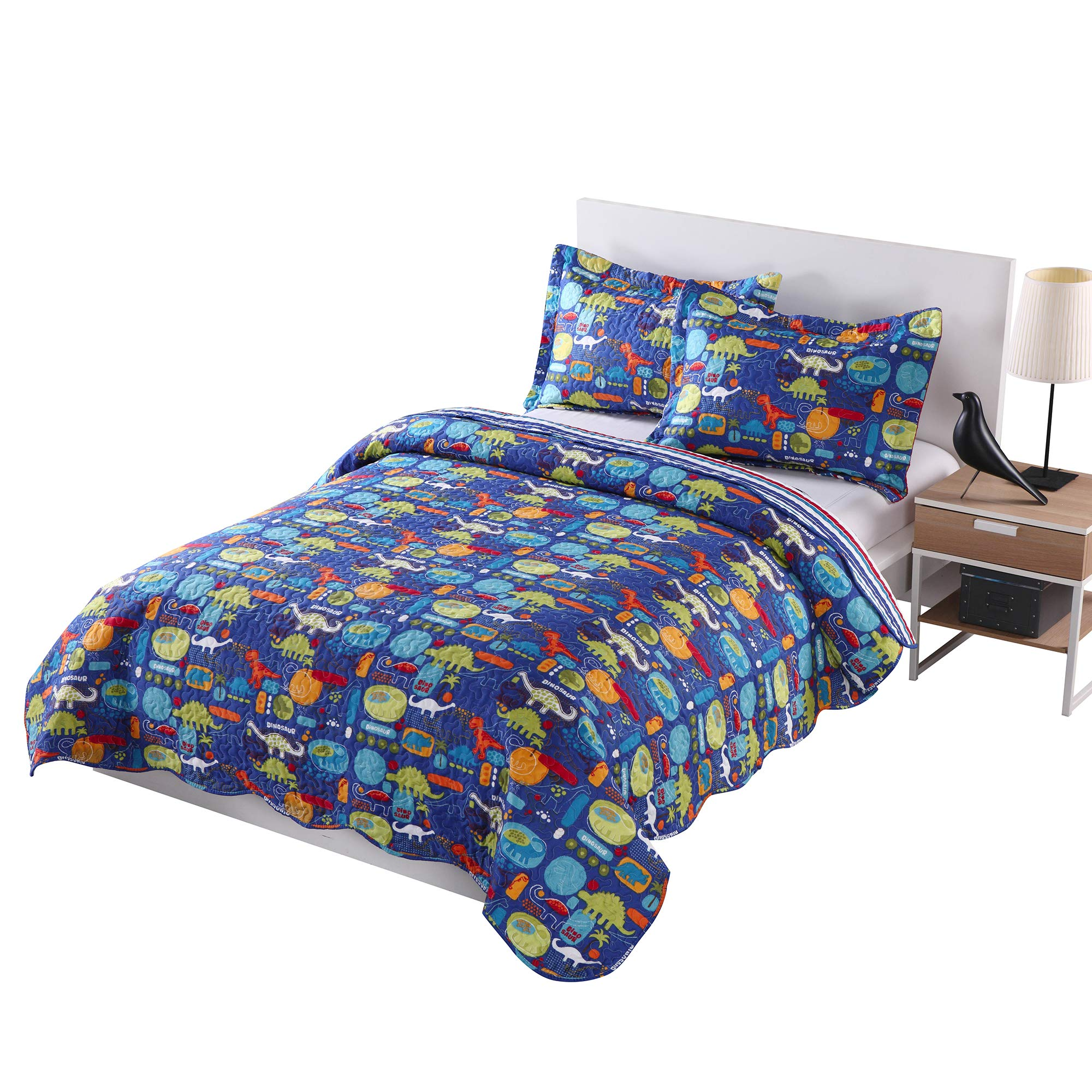 MarCielo 3 Piece Kids Bedspread Quilts Set Throw Blanket for Teens Boys Girls Bed Printed Bedding Coverlet, Full Size, Dinosaur (Full) by MarCielo