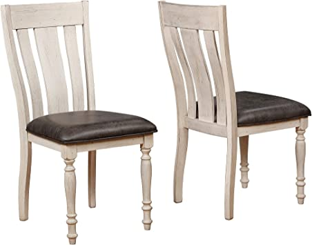 Amazon Com Roundhill Furniture Arch Turned Leg Dining Chair Set Of 2 Weathered Oak Chairs
