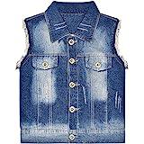 Peacolate 5-12Y Girl Distressed Sleeveless Jean Jacket Butterfly Denim Vest