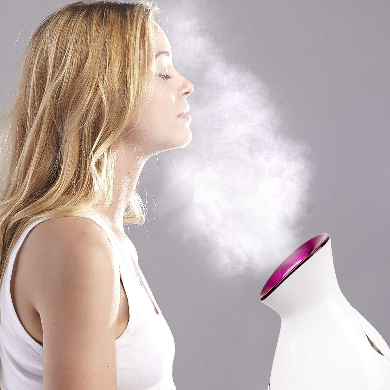 Nano Ionic Warm Mist Facial Steamer - Headbands - Facial Brush, Bemmer Face Steamer Hot Mist Moisturizing Cleansing Pores Sprayer Face Humidifier Hydration System Home Sauna SPA Bluter