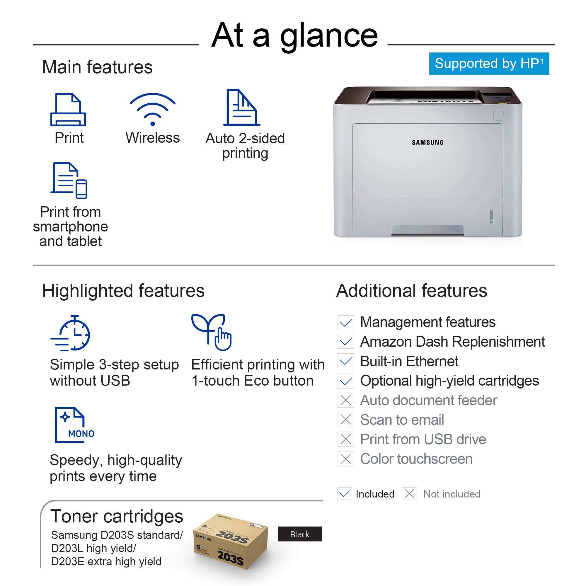 Samsung ProXpress M3820DW Wireless Monochrome Laser Printer with Mobile Connectivity, Duplex Printing, Print Security & Management Tools, Amazon Dash Replenishment Enabled (SS372C) by HP (Image #6)