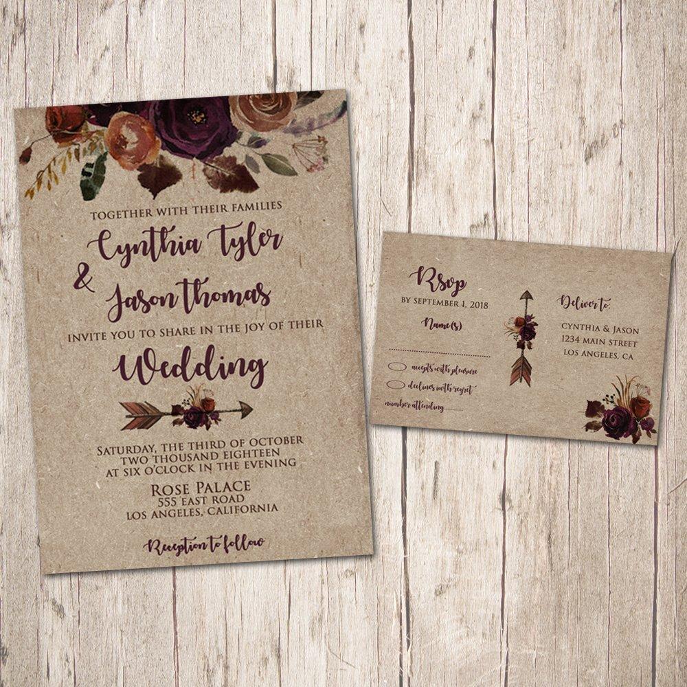 Amazon.com: Fall Wedding invitations, Plum Wedding invitations, Romantic  Wedding, Floral Wedding Invites, Boho Wedding invitations Purple (Pack of  10): Handmade