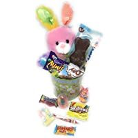 Easter Basket Gift Bundle with Stuffed Plush Bunny, Chocolate Bunnie, Mini Eggs and Lots of Easter Treats - in an Easter Pail