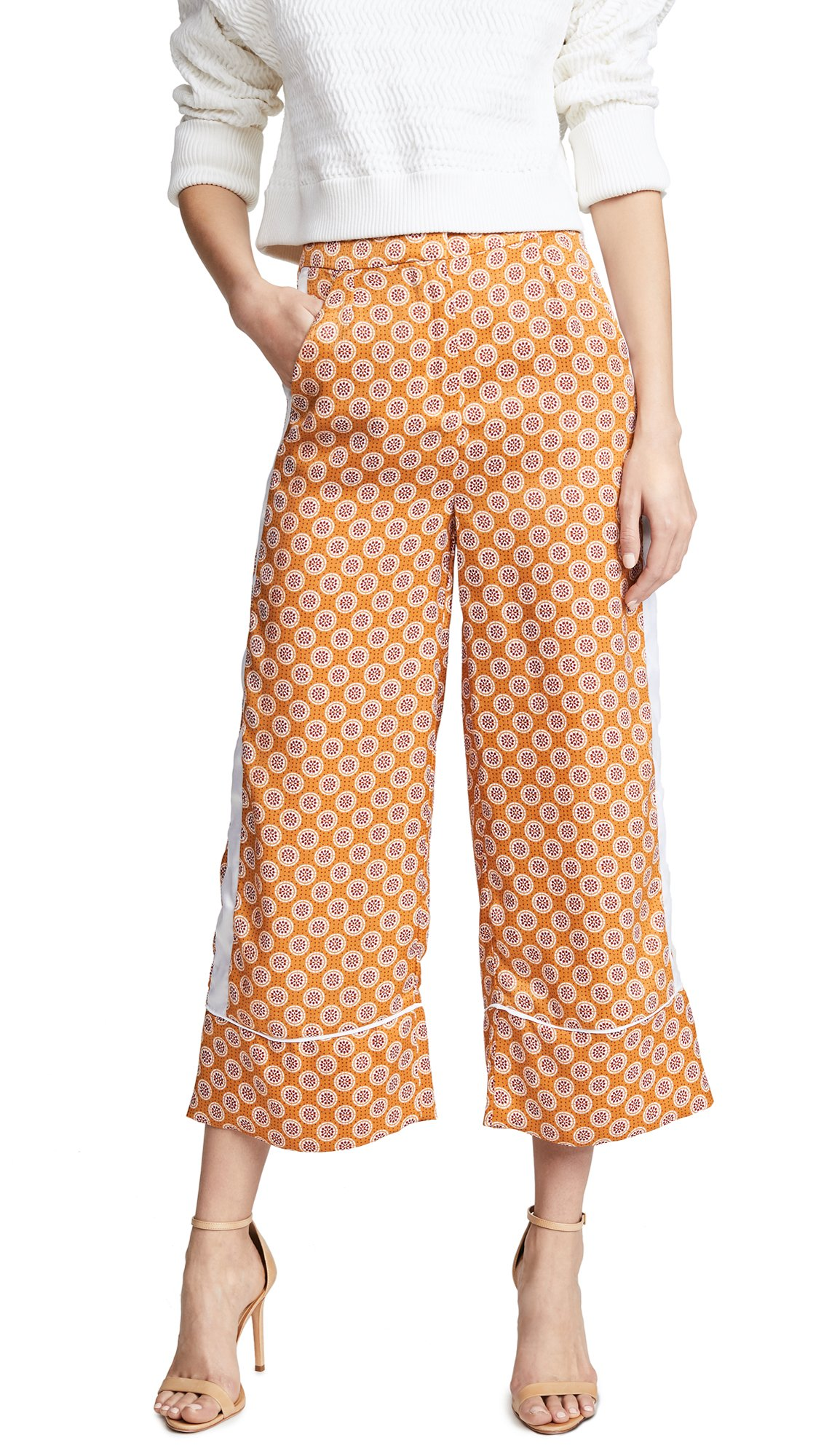 The Fifth Label Women's Jordan Floral Print Silky Wide Leg Cropped Leisure Pant, Amber Geo, XS