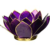Luna Bazaar 3-Layer Capiz Lotus Candle Holder (2.25-Inch, Nani Design, Plum Purple , Gold-Edged) - For Use with Tea Lights - For Home Decor, Parties, and Wedding Decorations