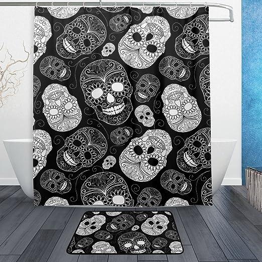 Skull Design Polyester Fabric Shower Curtain Liner Waterproof Bathroom Mat Set