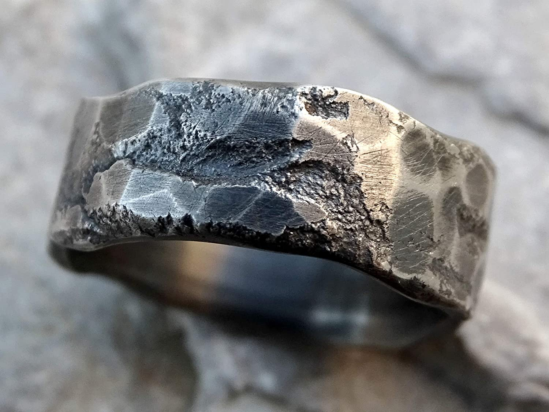 Amazon Com Molten Silver Ring Mens Wedding Band Unique Wedding