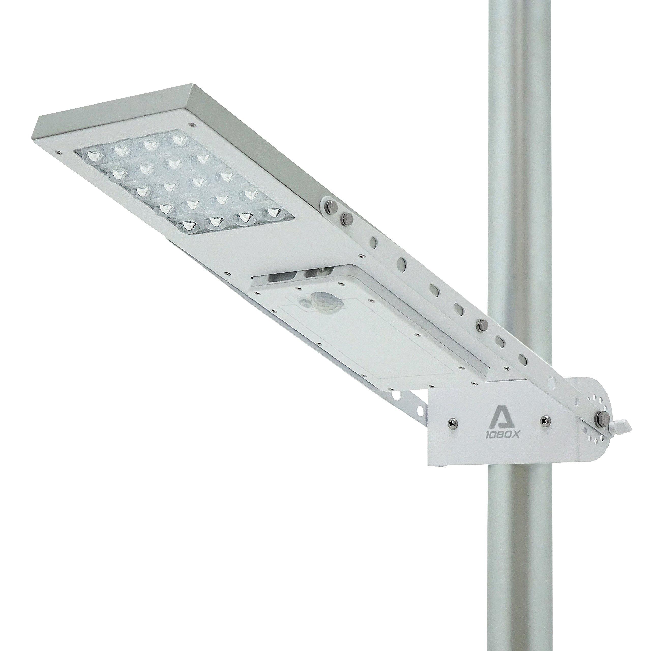 ALPHA 1080X Street Light , 3-Mode Setting, Lithium Battery, Adjustable Mounting Bracket for Optimum Sunlight Exposure, Fit Max Pole Diameter 3''