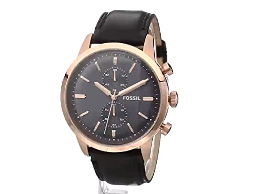 354628b05 Amazon.com: Fossil Men's FS5097 Townsman Chronograph Rose Gold-Tone  Stainless Steel Watch with Black Leather Band: Fossil: Watches
