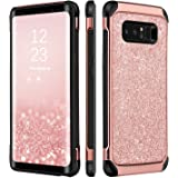 Note 8 Case, Galaxy Note 8 Case, BENTOBEN 2 In 1 Glitter Sparkle Bling Hybrid Hard Cover Shiny Faux Leather Chrome Shockproof Bumper Protective Phone Case for Samsung Galaxy Note8(6.3 inch) Rose Gold