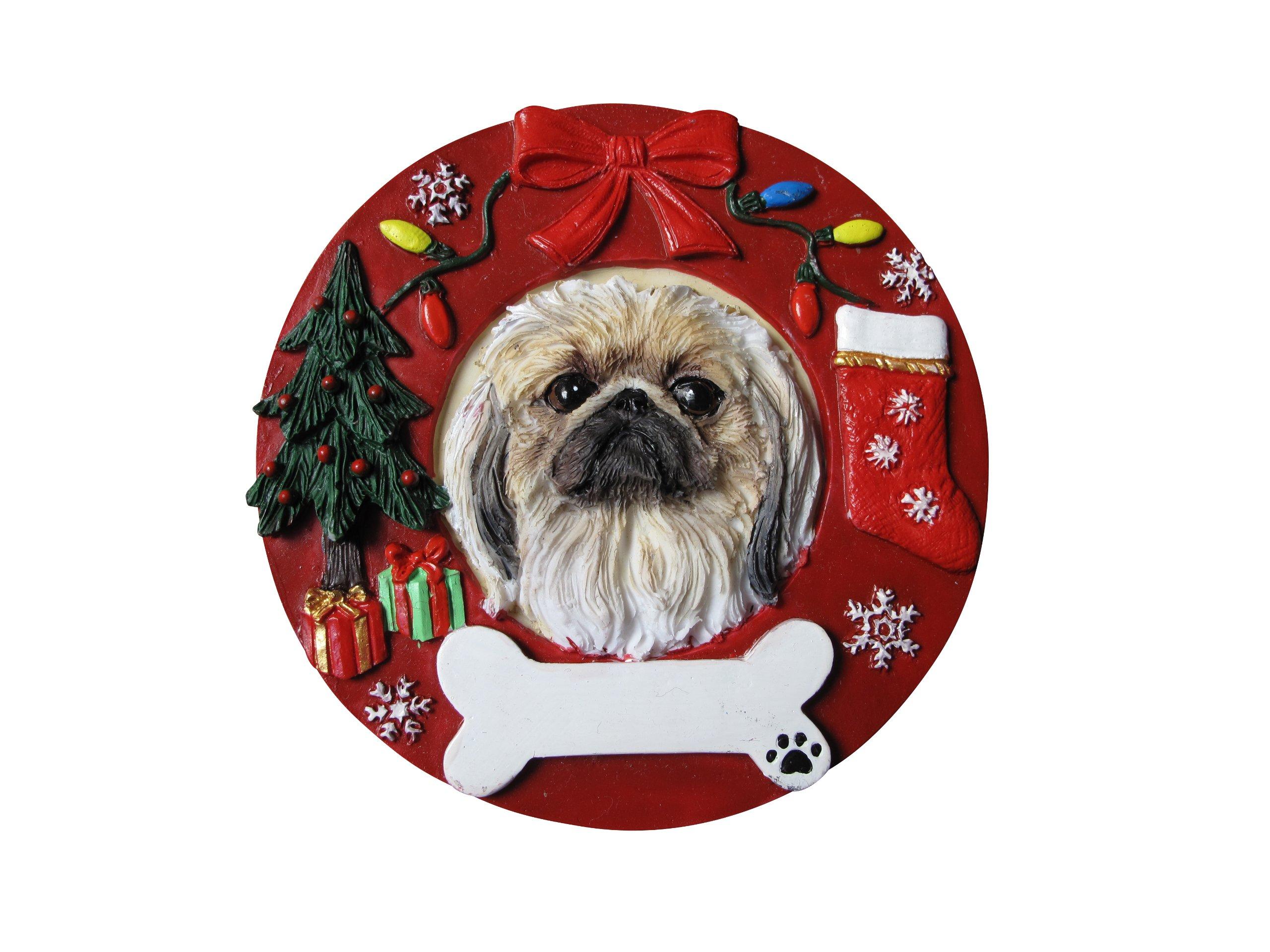 Pekingese-Christmas-Ornament-Wreath-Shaped-Easily-Personalized-Holiday-Decoration-Unique-Pekingese-Lover-Gifts