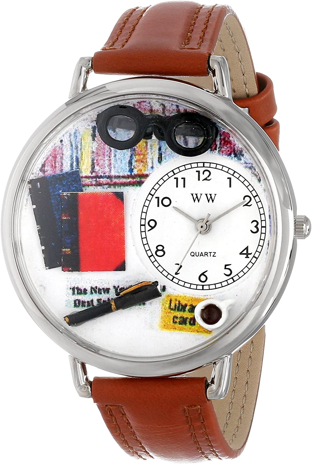 Whimsical Watches Unisex U0460001 Book Lover Tan Leather Watch