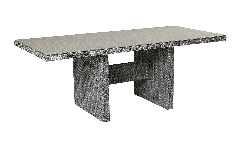 Wholesaler GmbH LC Garden Gartentisch 192 x 90 cm Modesto Dining grau Aluminiumrahmen Polyrattan-Geflecht Glasplatte