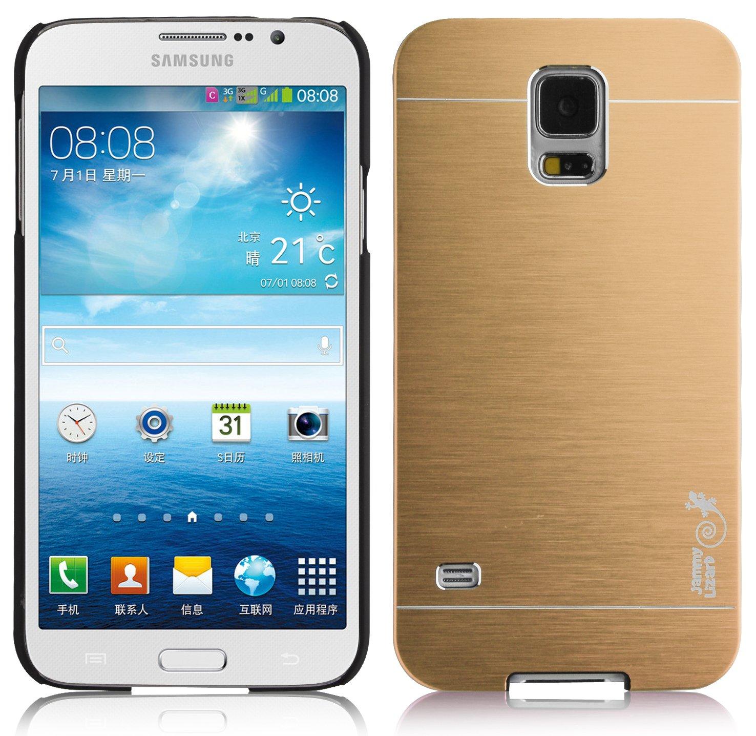 JAMMYLIZARD – Carcasa para Samsung Galaxy S5 & S5 Neo Back Cover rígida Cromado Efecto Aluminio Cepillado, Oro