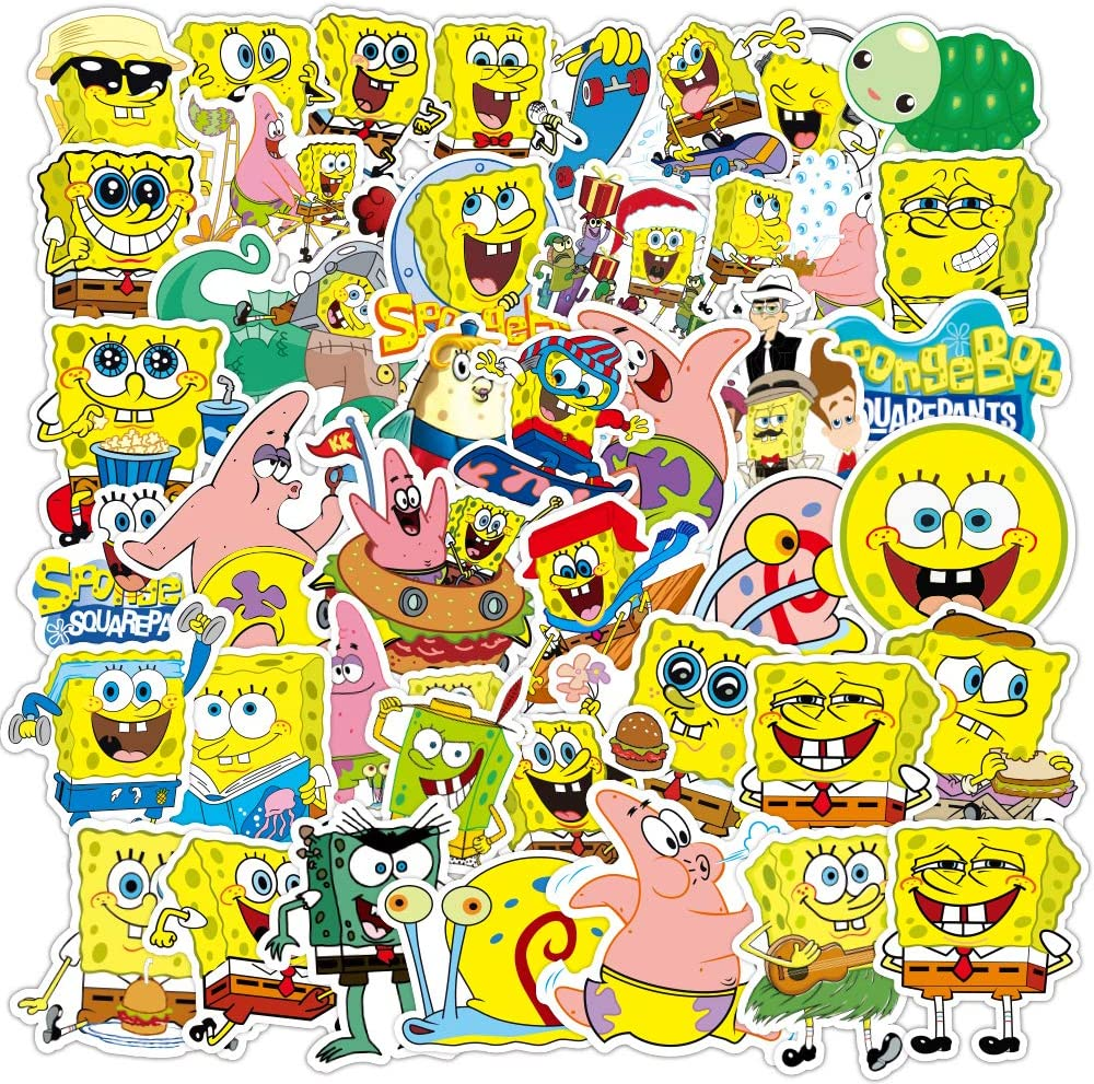 50pcs Cartoon Sponge bob Laptop Vinyl Stickers car Sticker for Snowboard Motorcycle Bicycle Phone Computer DIY Keyboard Car Window Bumper Wall Luggage Decal Graffiti Patches (Sponge bob)