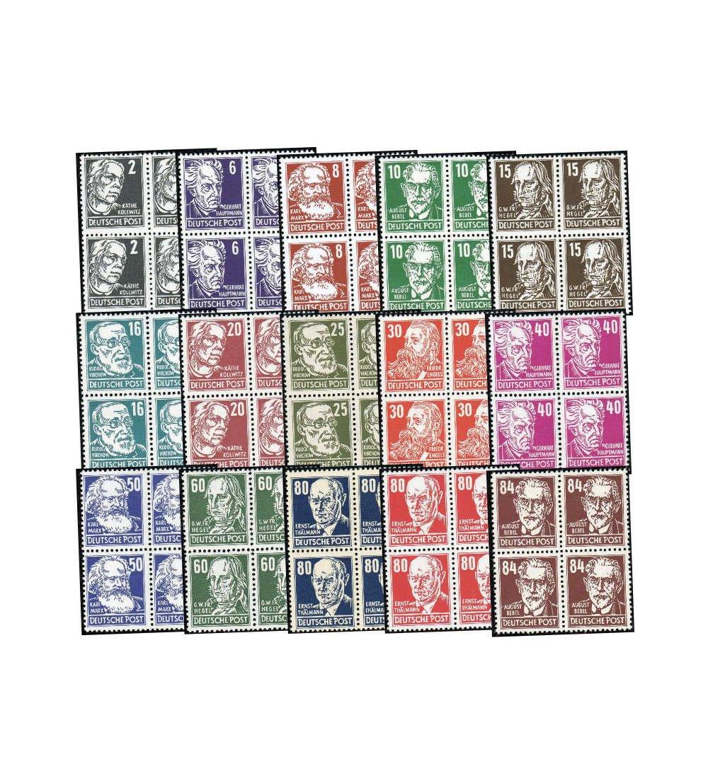 Goldhahn DDR Nr. 327-341 postfrisch  Viererblocksatz Köpfe 1952  Briefmarken für Sammler