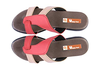 6e179844033ef3 Happy Feet Appu Red MCP Orthopedic Foot Pain Relief Ladies Slippers - 9 UK   Buy Online at Low Prices in India - Amazon.in