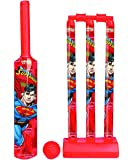 Zitto Superman Senior Cricket Set with 1 Plastic Bat and Ball, 3 Wickets, Base and Bail