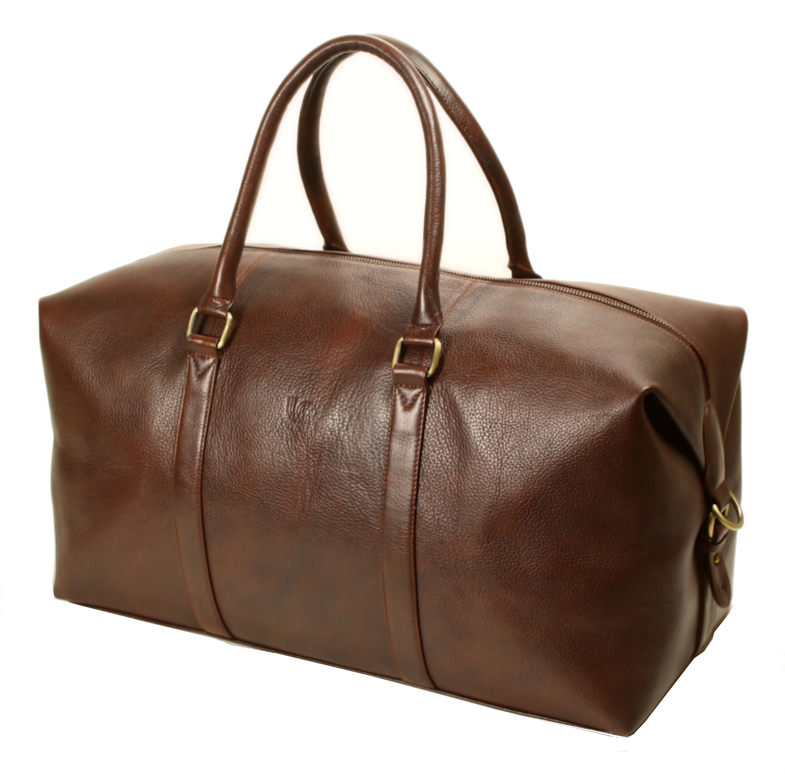 LeftOver Studio Expandable Weekend Overnight Travel Duffel Bag in Brown Top Grain Cow Leather