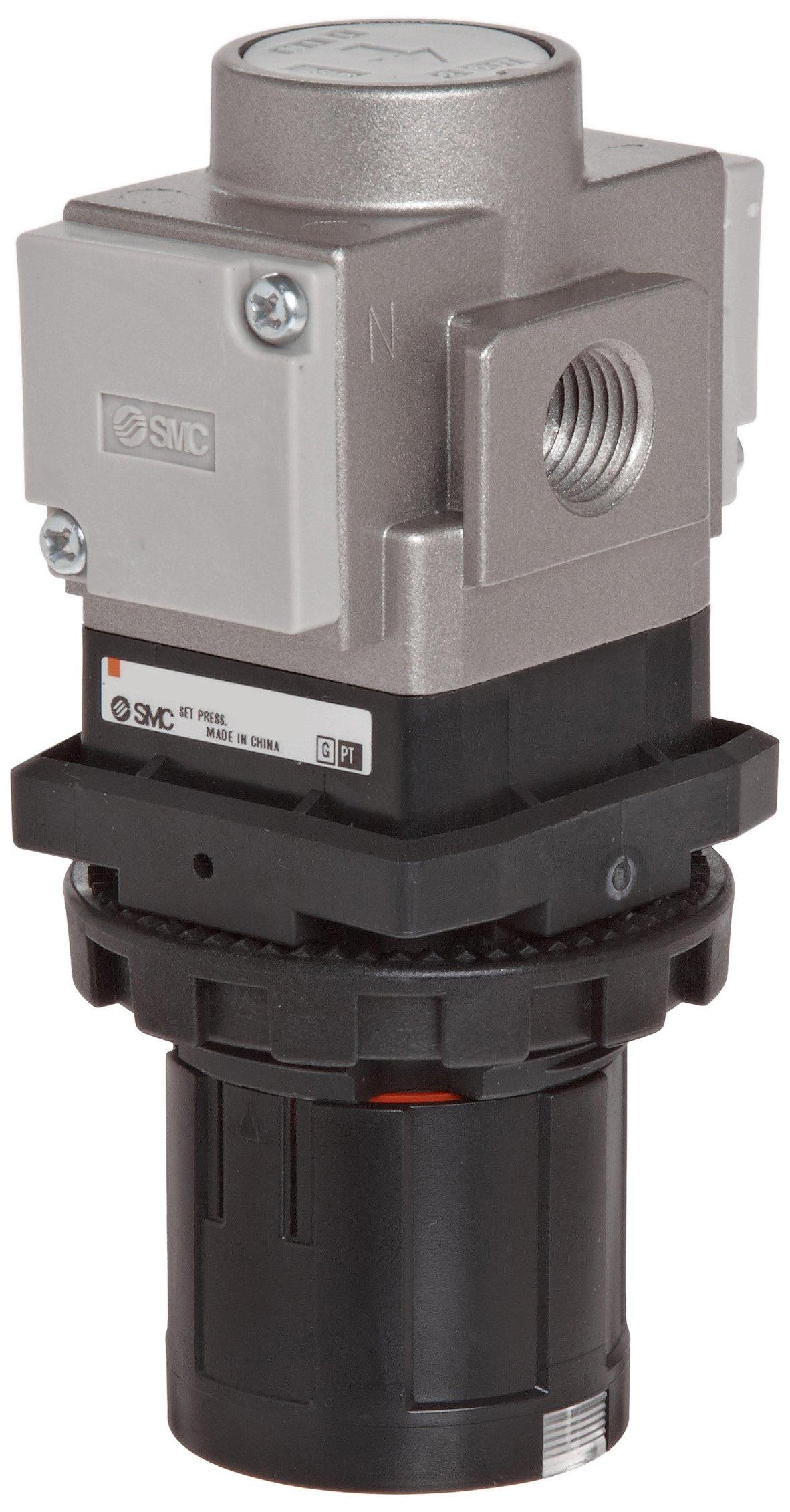 SMC ARG20-N02G1-Z Regulator with Gauge in Handle, Relieving type, 7.25 - 123 psi Set Pressure Range, 28 scfm, Gauge in Handle, 1/4'' NPT