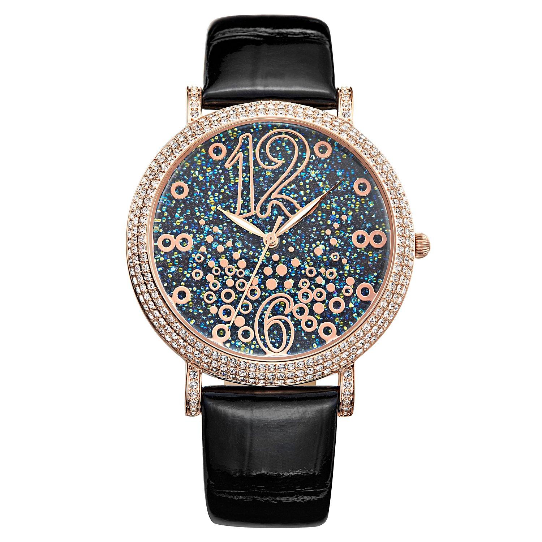 Matisse Fashion Full Kristall Zifferblatt rÖmische Zahl Damen Fashion Strap Quarz Leder Armbanduhr - blau